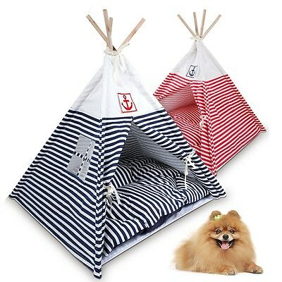 New Pet Kennel Navy Striped Teepee Tent Cat Dog Bed Puppy Kitten Play House Pad