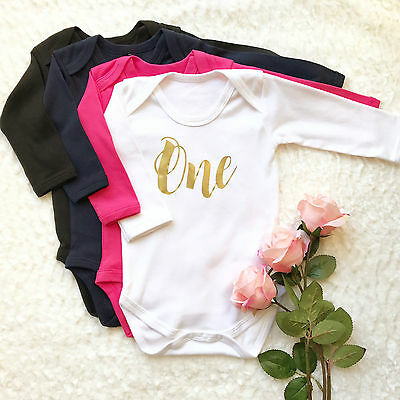 Baby Girl First Birthday | Cake Smash Outfit | Long Sleeved Vest One