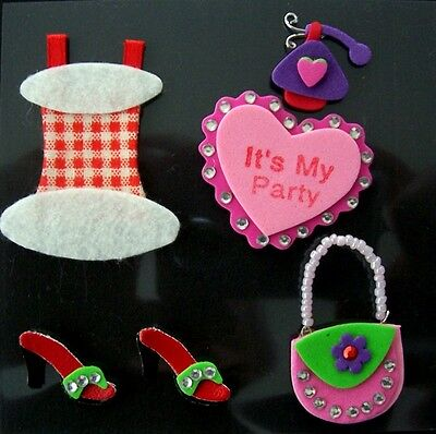 IT'S MY PARTY ~ stickers with gems -Dress-Shoes-Handbag-Heart-SCRAPBOOKING/CARDS
