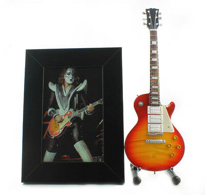 Miniature Guitar ACE FREHLEY with stand + PHOTO + FRAME. original photo