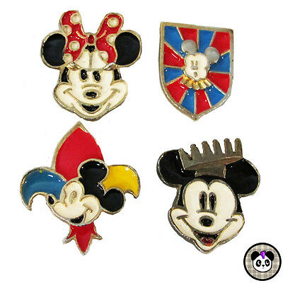 Vtg Disney Mickey Minnie Mouse Enamel Metal Button Covers 4 pc Set Lot