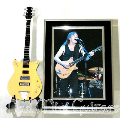 Miniature Guitar MALCOLM YOUNG with Stand + Photo + Frame. AC/DC Original Photo