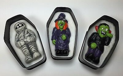 Rare Vintage Halloween Coffin Candles Witch Dracula Mummy Groovie Goolies