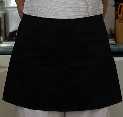 5 x Black Short Waist Apron 60cm wide NO POCKET Bistro/Waitress/Cafe - QLD Made