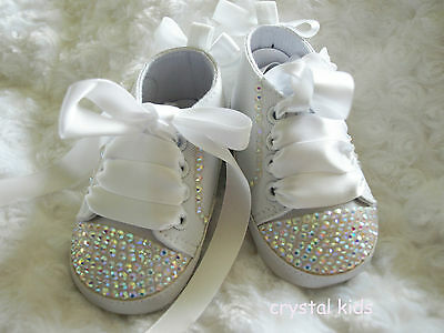 Baby Girls Reborn White Bling Crystal Christening Shoes Boots 0 - 12 months
