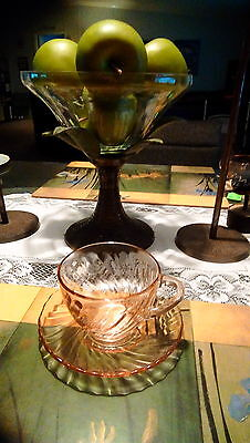 Vintage Depression Glass Arcoroc France Rosaline Swirl clear pink cup & saucer