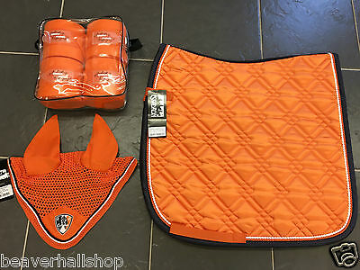 Eskadron Orange Matchy FULL SET Dressage Pad, Bandages & Fly Veil Ears SS15 NEW