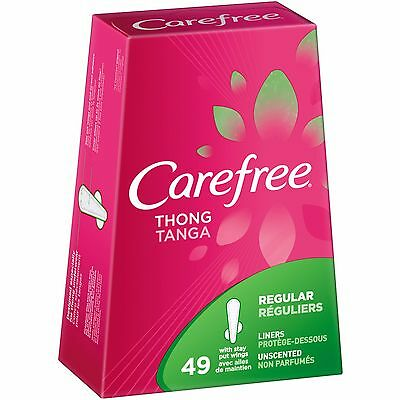 Carefree Thong Regular with Stay Put Wings Unscented Pantiliners, 49 count