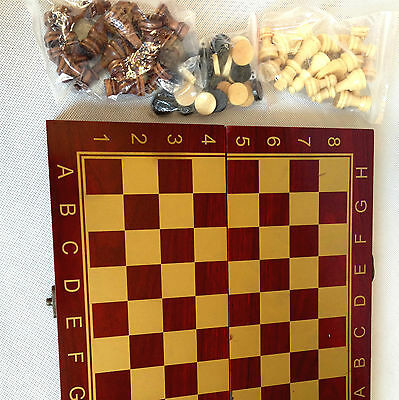 Brown Colour Foldable Board Game Set 3 IN 1 Chess Checkers Backgammon Play Gift