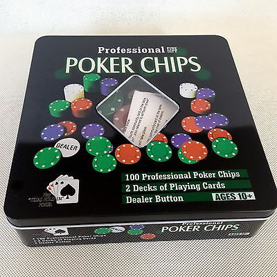 Professinal 100Pcs Texas Hold'em Poker Chip Set Game Set In Metal Case Gfit