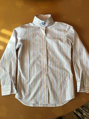 The Tailored Sportsman Poly/Cool Max 2 Collars Girl's Size 10 Striped Show Shirt