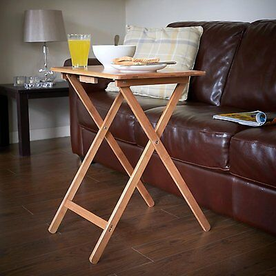 Snack Table Compact Folding TV Laptop Coffee Natural Wooden Veneer Top Table