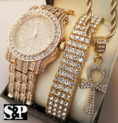 Men Hip Hop Iced Lab Diamond Watch & Bracelet & Ankh Cross Necklace Gift Set