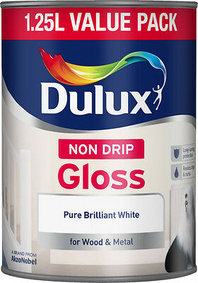 Dulux Non Drip Gloss Paint - Pure Brilliant White - 1.25L - For Wood & Metal