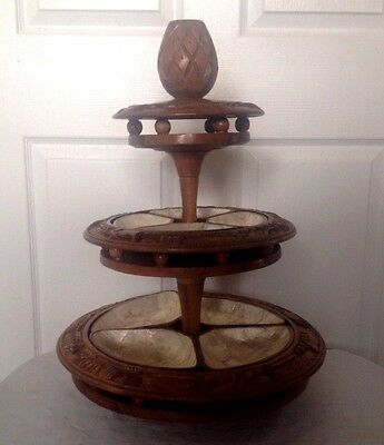 1960's Hand Carved 3 Tier Monkey Pod Or Teak Wood Lazy Susan Tray