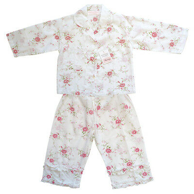 Powell Craft Girls Pyjamas,Cotton White Floral Design + Gift Box!