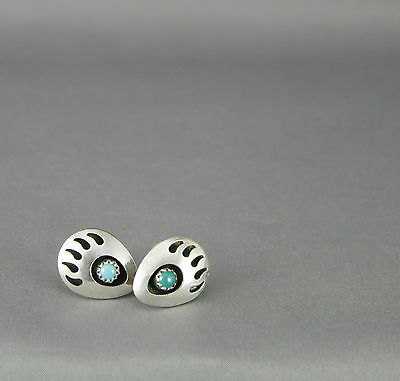 Vintage Bear Paw 925 Sterling and Turquoise Earrings Stud Handmade
