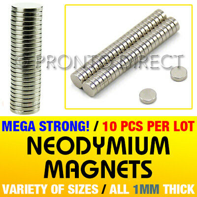 VARIETY of Neodymium Magnets 1mm Thick - Small & Large Round Disc - MEGA STRONG!