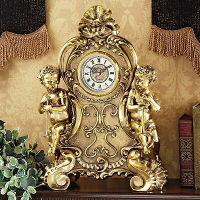 Antiqued Cherub Clock Saint Remy Brass French Rococo Style Brass Finish New