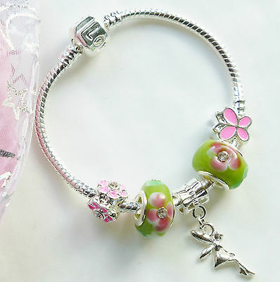 childrens Tinker Fairy bracelet with butterfly flower charms in gift pouch girls