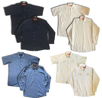 Red Kap Men's Specialized Industrial Pocketless Mechanic Work Uniform Shirts