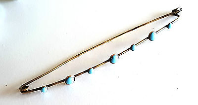 Rare Large Vintage Victorian Brass and Turquoise Glass Knitting Stitch Holder