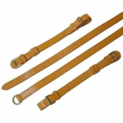 Porsche 356 Interior Luggage Straps London Tan Leather and Brass Hardware
