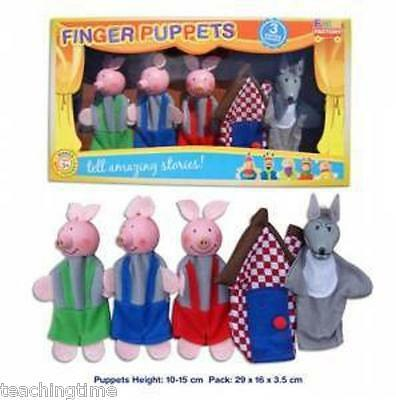 3 little pigs finger puppets 5 pieces including wolf and house