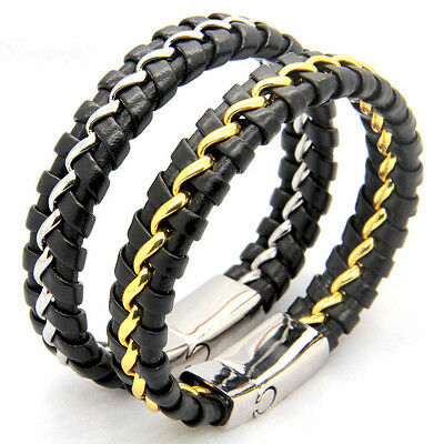 Mens Womens Braided Woven Leather Bangle Stainless Steel Wristband Bracelet +Box