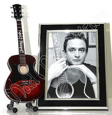 Miniature Guitar + Photo JOHNNY CASH with free stand. Man in Black