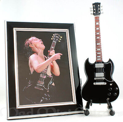 Mini Guitar ANGUS YOUNG with Stand + Photo + Frame. AC/DC