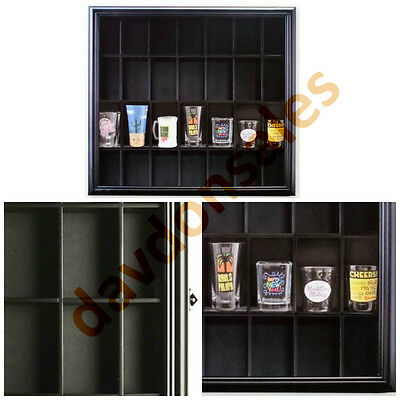 Shot Glass Display Case Black Wall Standing Collectible Glass Door Shadow Box