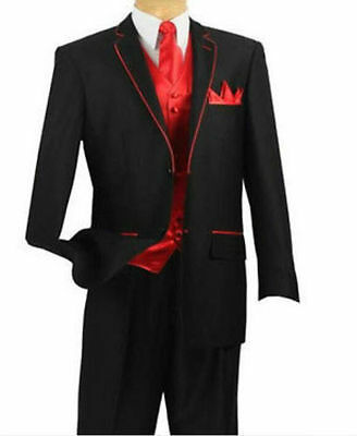 2016 New Custom Made To Measure men suit Black Tuxedo With Red Edge and Red Vest