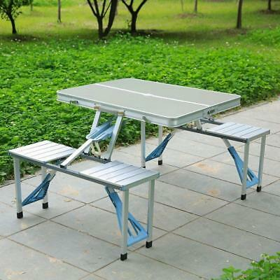 Folding Foldable Portable Table Picnic Outdoor Camping & 4 Chairs Aluminium