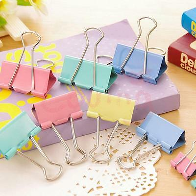 12 Colorful Office Metal Binder Clips File Paper Clips 25mm Width Organizer New