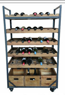 Black Rustic Recycled Timber  French Industrial Wine Rack on castors 40 bottles