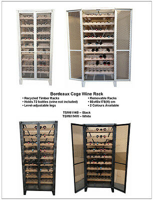 White Rustic Recycled Timber  French Industrial Wine Rack cage  -72 bottle rack