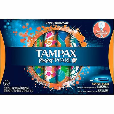 Tampax Pocket Pearl Super Plus Absorbency Unscented Compact Tampons, 36 count