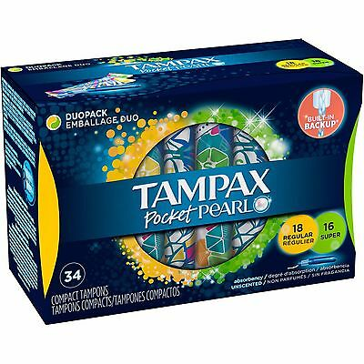 Tampax Pocket Pearl Regular/Super Unscented Compact Tampons Duopack, 34 count