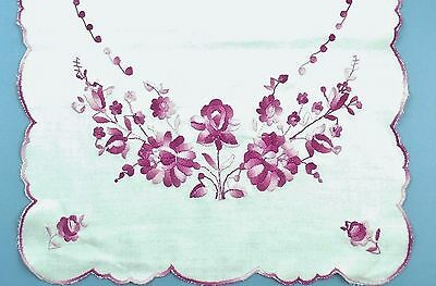 Pink & White Floral Hungarian Kalocsa Embroidery Table Runner