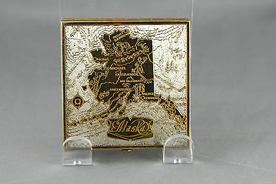 Vintage Wadsworth Alaska State Map Compact Etched With Rhinestone Capitol Marker