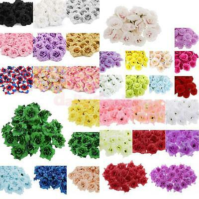 Various 50xArtificial Rose Silk Flower Blossom Heads Bulk Home Party Decor Craft