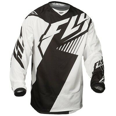 Fly Racing NEW Mx Gear 2016 Kinetic Mesh Air Vented Black White Motocross Jersey
