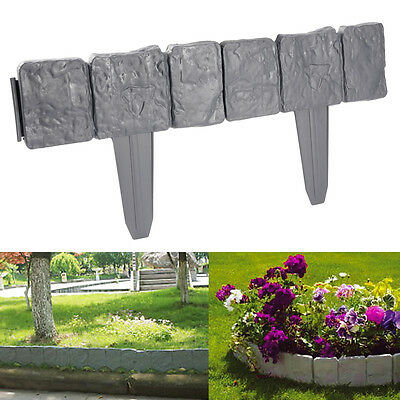 10/20/30 Pack Grey Cobbled Stone Effect Plastic Garden Lawn Edging Border Diy