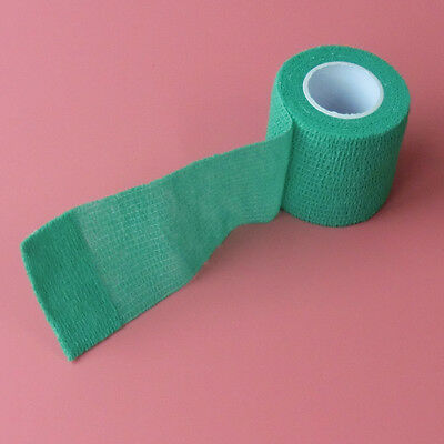 2 Rolls Horse Cat&Dog Wound Bandage Stretch Cohesive Sport Tape Green 5cm*4.5m