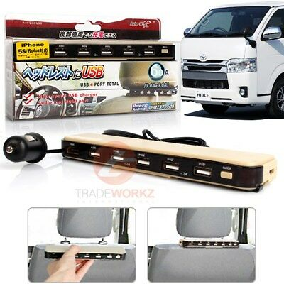 JDM Beige Headrest Mount 4 USB Charger Port High Power 3.0A+Audio & HDMI Line In
