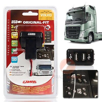 New 24V VOLVO FH Original Fit Plug & Play Dual Twin 2.1A USB Port Charger iPhone