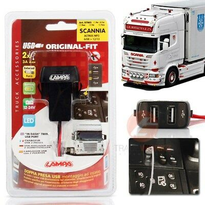 24V SCANIA R/P/G Original Fit Plug & Play Dual Twin 2.1A USB Port Charger iPhone