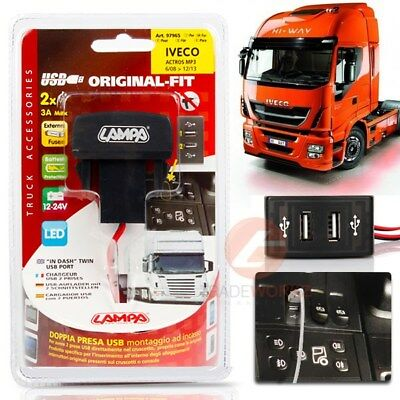 New 24V IVECO STRALIS Original Fit Plug & Play Dual Twin 2.1A USB Port Charger