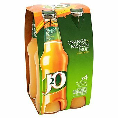 24 X J20 Orange and Passion Fruit Juice Soft Drink Glass Bottles 275 ml each